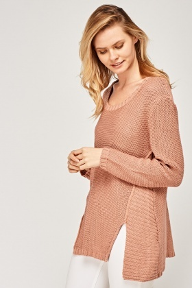 Slit Front Knitted Jumper
