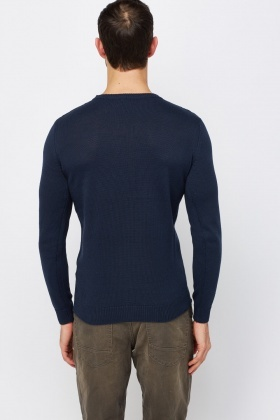 Textured Font Knitted Jumper