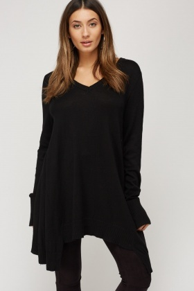 Asymmetric Side Thin Knitted Jumper
