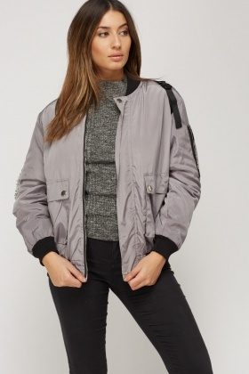 Contrast Back Detail Padded Bomber Jacket