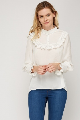 Crochet Trim Button Neck Top