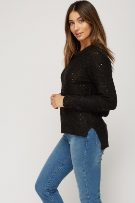 Dip Hem Sequin Knitted Jumper
