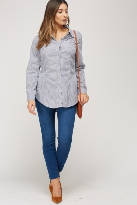 Mesh Insert Back Striped Shirt