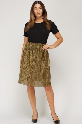 Metallic Speckled Pleated Skirt