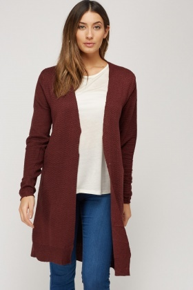 Open Front Textured Knitted Cardigan