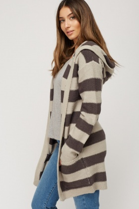 Striped Knitted Open Front Cardigan