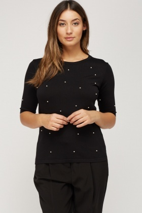 Studded Faux Pearl Top