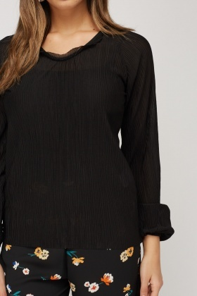 Tie Up Back Pleated Top