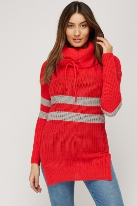 Turtle Neck Ribbed Knitted Jumper