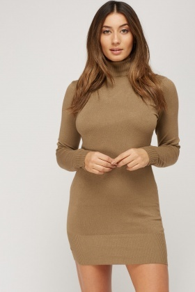 Turtle Neck Thin Knitted Dress