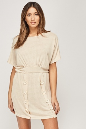 Detailed Button Basic Dress