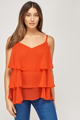 Flared Overlay Sheer Cami Top
