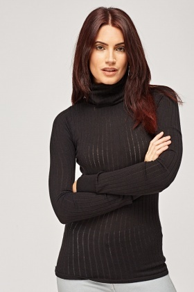 Ribbed Thin Roll Neck Jumper