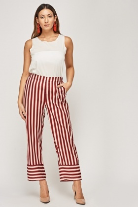 Striped Sateen Basic Trousers