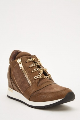 Chain Lace Up Wedge Trainers