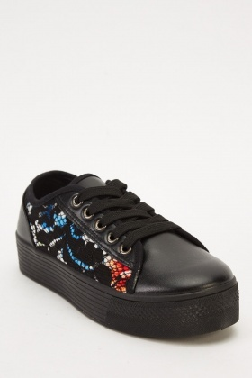 Lace Overlay Contrast Lace Up Shoes