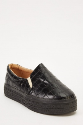 Mock Croc Slip On Shoes