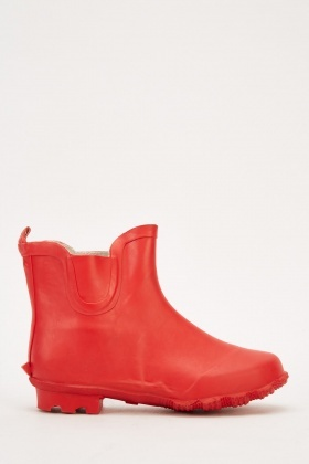 Red Ankle Welly Boots