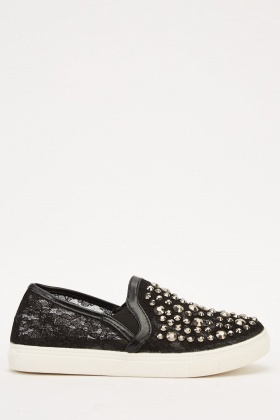 Studded Mesh Contrast Shoes