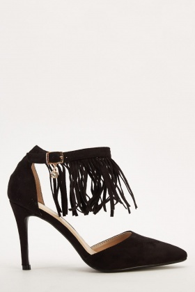 Suedette Fringed Court Sandals