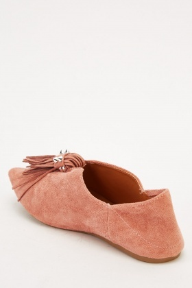 Tasseled Suedette Flat Shoes