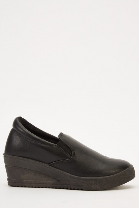 Wedged Classic Faux Leather Shoes