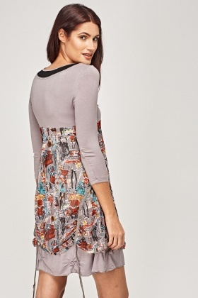 Contrast Printed Overlay Dress