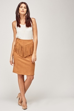 Suedette Fringed Skirt