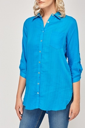 Blue Striped Casual Shirt