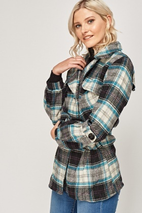 Double Breasted Checked Coat