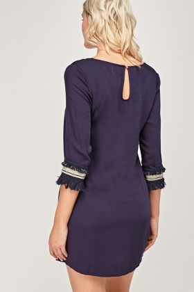 Embellished Trim Shift Dress