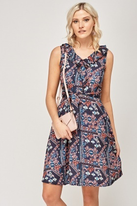 Frilled Tie Up Swing Dress