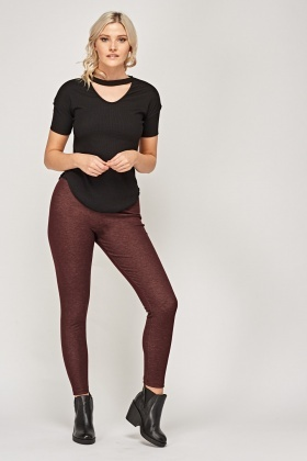 Maroon Elasticated Leggings