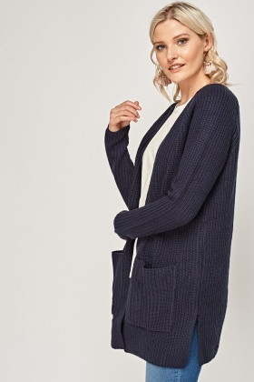 Open Front Ribbed Knitted Cardigan