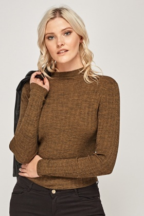 Ribbed High Neck Top