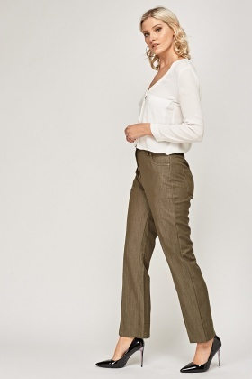 Straight Leg Fitted Trousers