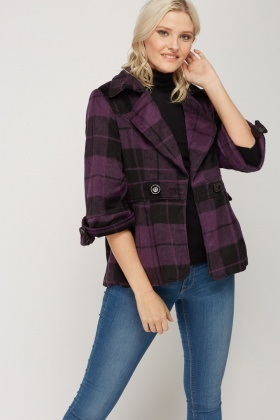 3/4 Sleeve Checked Coat