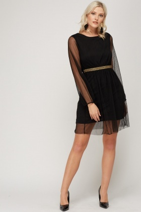 Embellished Waist Mesh Overlay Dress