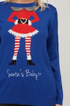 Embroidered Santas Baby Knitted Jumper