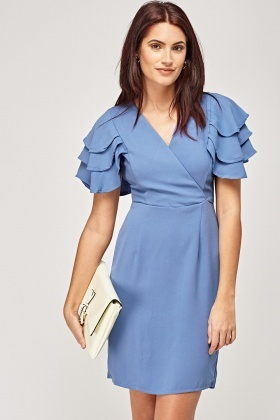 Layered Sleeve Wrap Dress