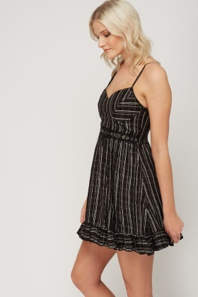 Metallic Insert Checked Cami Dress