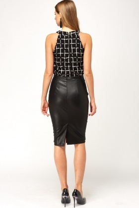 fd20077555 Black Faux Leather Pencil Skirt - Just £5