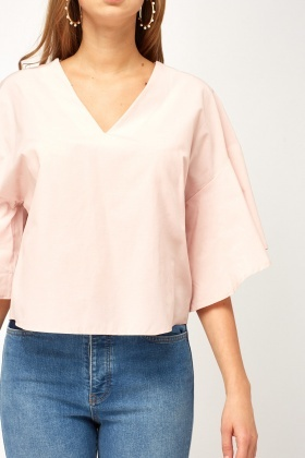 Flare Sleeve V-Neck Top