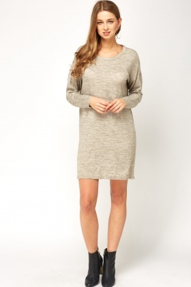 Light Grey Speckled Jumper Dress
