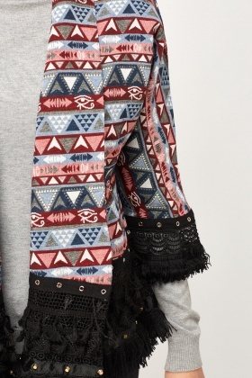 Mixed Print Fringed Cape