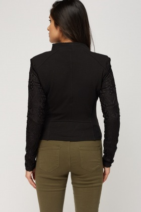 Detailed Lace Asymmetric Zip Up Jacket