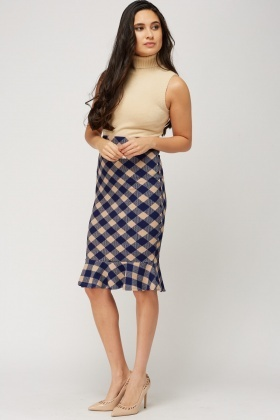 Flared Hem Checked Grid Skirt