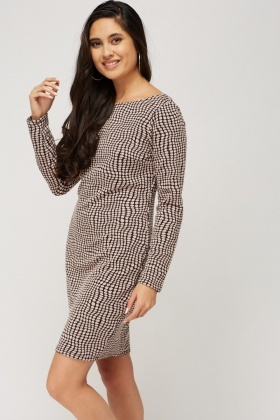 Long Sleeve Printed Casual Dress