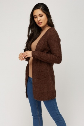 Open Front Bobble Knit Cardigan