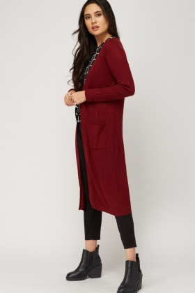 Thin Knitted Ribbed Longline Cardigan - Just £5